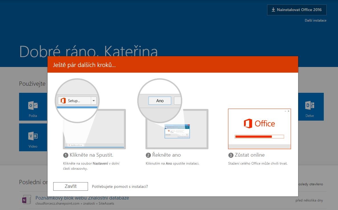 Nov domovsk str nka pro u ivatele office 365 je tady for Office design 365